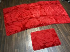 ROMANY WASHABLES NEW SETS OF 4 MATS XXLARGE SIZE 100X140CM RED ROSES NON SLIP